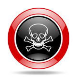 skull red and black web glossy round icon