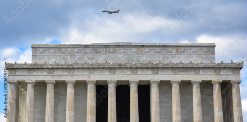 Front view of Lincoln Memorial with the names of American States. Poster