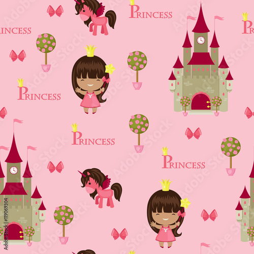 Cotton fabric Princess seamless pattern