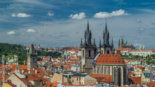 Foto op Canvas Bedehuis View from the height Powder Tower in Prague timelapse. Historical and cultural monument