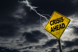 Crisis Ahead Sign With Stormy Background - 119076933