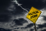 Political Storm Sign With Stormy Background - 119076958