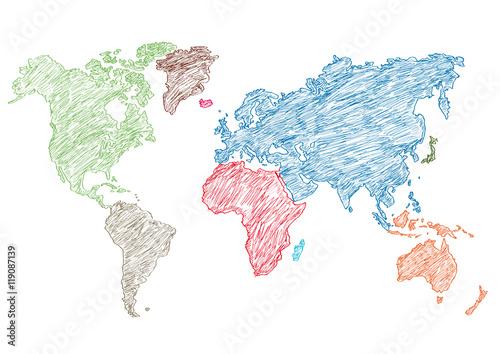 Fototapeta vector illustration world map pencil sketched