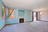 Empty living room interior with blue pastel color walls