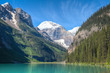 Moraine Lake, Banff National Park, Alberta, Canada. This beautiful and very popular lake is surrounded by high mountains with glaciers.