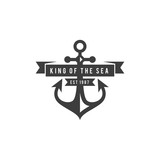 Steering wheel and anchor vintage logo navigation equipment isolated logo design concept