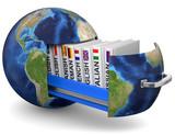 Erdball mit Bücherfür Sprachschule - 119125985