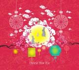 Oriental Chinese New Year lantern and rabbit background