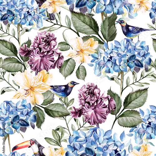 Colorful watercolor pattern with flowers hydrangea , hibiscus , iris and bird .  - 119136567