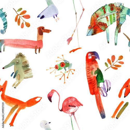 watercolor animals set - 119137331