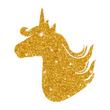 Fototapety Colorful patch with unicorn gold glitter silhouette, bright colors. Background under clipping mask. Hand drawn vector Illustration for kid textile, pin, t-shirt print design. Fashion trend badge
