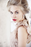 Beautiful model blond, blue eyes, red lipstick