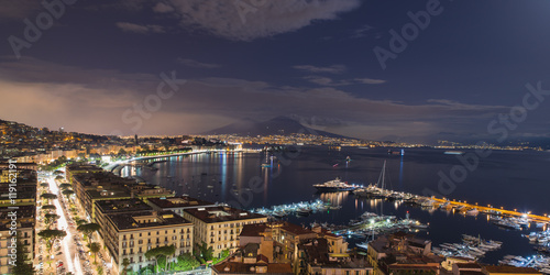 Foto op Canvas Napels view of the Bay of Naples at night