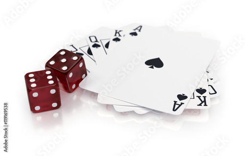 Poster Royal flush of spades with dices