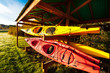 Red and yellow kayaks stored outside on a rack protected by a shelter