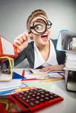 Crazy office lady at desk. - 119184178