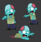 Halloween Character Set Zombie Cartoon Vector Illustration