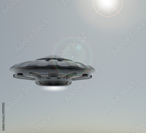 Foto op Canvas UFO 3D rendering UFO.The spacecraft against the sky .