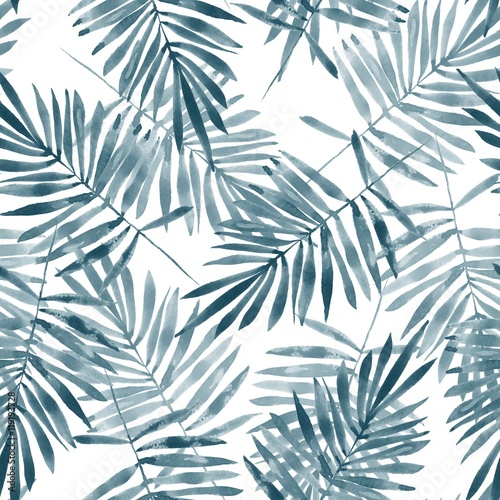 Palm leaves. Watercolor seamless  pattern. Hand drawn floral background - 119193728