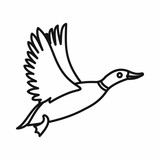 Wild duck icon in outline style on a white background