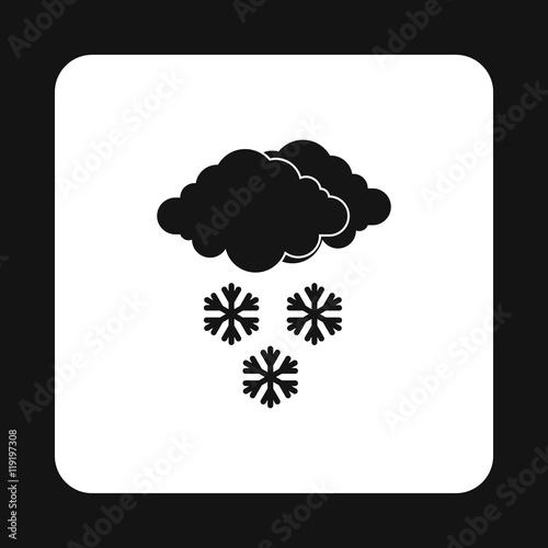 Clouds and snowflakes icon in simple style isolated on white background. Weather symbol