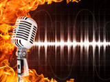 Microphone on Fire Background