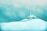Fototapety Winter snowy background for holiday greeting card or poster with  winter landscape