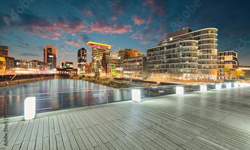 Leinwanddruck Bild Medienhafen Düsseldorf
