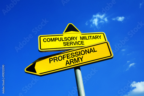 Plakat Compulsory Military Service or Professional Army - Traffic sign with two options - obligatory conscription and draft vs being soldier as job and career