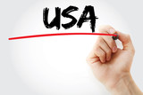 Hand writing USA with marker, concept background