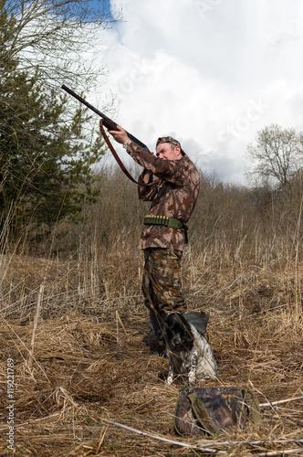 Fotobehang Jacht Hunter with a dog