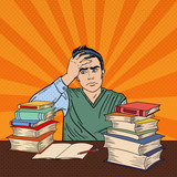 Fototapety Depressed Young Student Sitting at the Table with Stack of Books. Pop Art Vector illustration