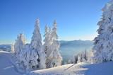 Winter landscape over the ski slope in Brasov Poiana, Romania