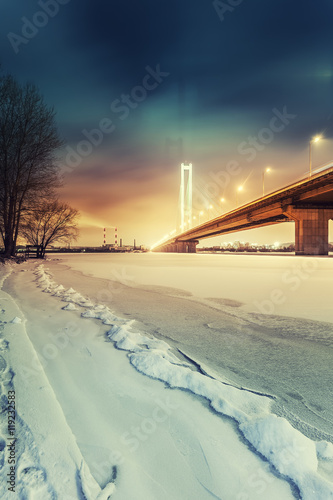 Foto op Plexiglas Kiev South bridge in winter Kiev city. Ukraine.