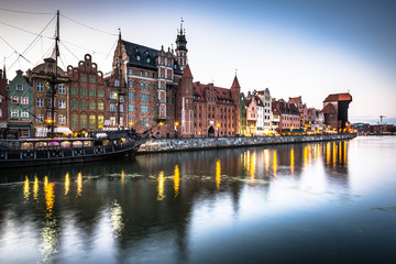 Gdansk,Poland-September 19,2015: old town and famous crane, Poli
