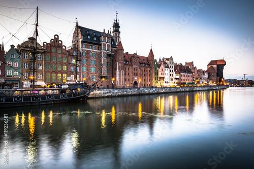 fototapeta na ścianę Gdansk,Poland-September 19,2015: old town and famous crane, Poli