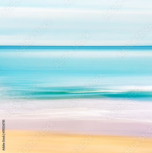 Tropical Ocean Seascape. A seascape in a tropical setting with a calm, turquoise ocean.  Image made with motion blur and a long exposure. - 119236781