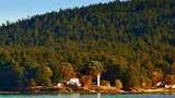 4K Lighthouse and House on Ocean Island, Sea and Island Landscape, Dusk Sunset