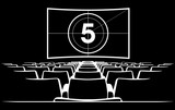 Cinema auditorium with screen and seats,illustration. - 119245557