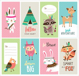 Fototapety Set of cute tribal animals cards