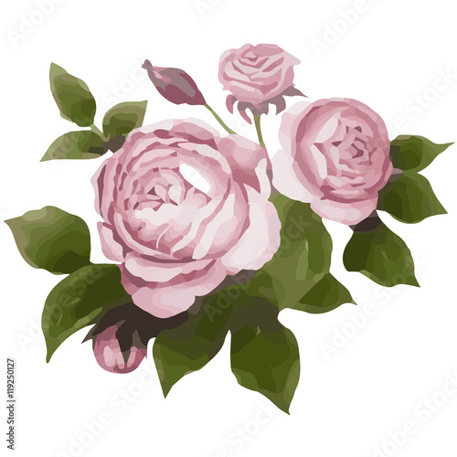 Poster Flowers watercolor illustration