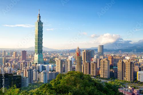 Poster Skyline of Xinyi District in downtown Taipei, Taiwan.