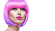 Beauty fashion model with short pink hair