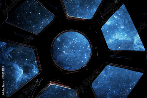 Earth and star in spaceship window porthole Poster