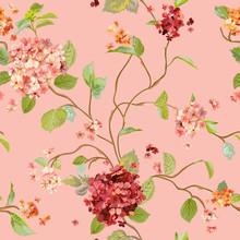 Vintage Kwiaty - Floral Hortensja Tło - bez szwu