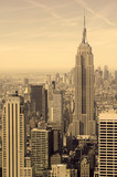 Tightly packed buildings and Manhattan skyline, New York City, sepia filter - 119266994