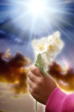 Purity and love for God with a child hand keeping a flower