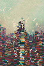 "Постер, картина, фотообои ""man reading book while sitting on pile of books,knowledge concept,illustration painting"""