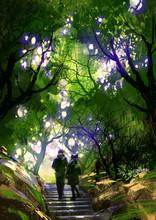 "Постер, картина, фотообои ""couple climbing up stairs in the park,illustration painting"""