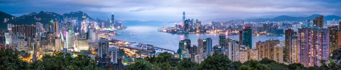 Hong Kong Skyline Panorama bei Nacht